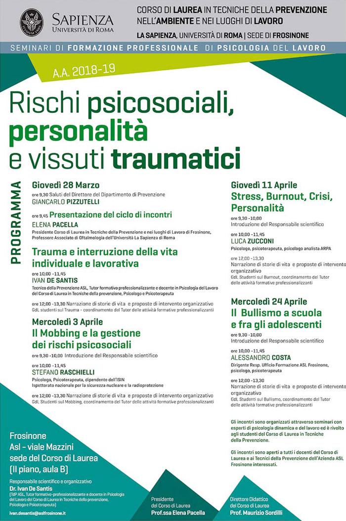Rischi psicosociali, personalità e vissuti traumatici